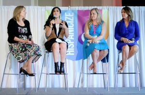 (Left to right) Myriam Marquez, Shirley Velasquez, Cynthia Hudson and Maria Elena Salinas shared their thoughts and experiences at Hispanicize 2015 in Miami.